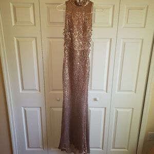 Long Sequined Sleeveless Pink Formal Gown